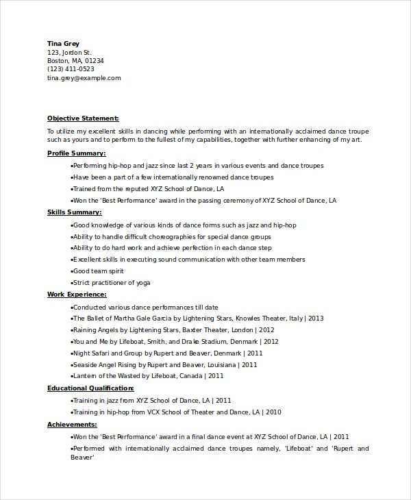dancer resume template free word pdf documents premium templates college dance experinced Resume College Dance Resume Template