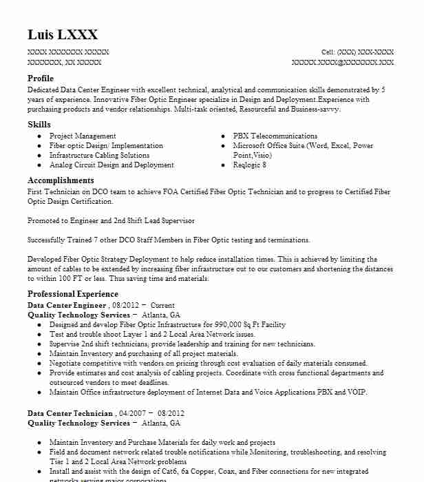 data center engineer resume example technical resumes livecareer migration sushi chef qtp Resume Data Center Migration Resume