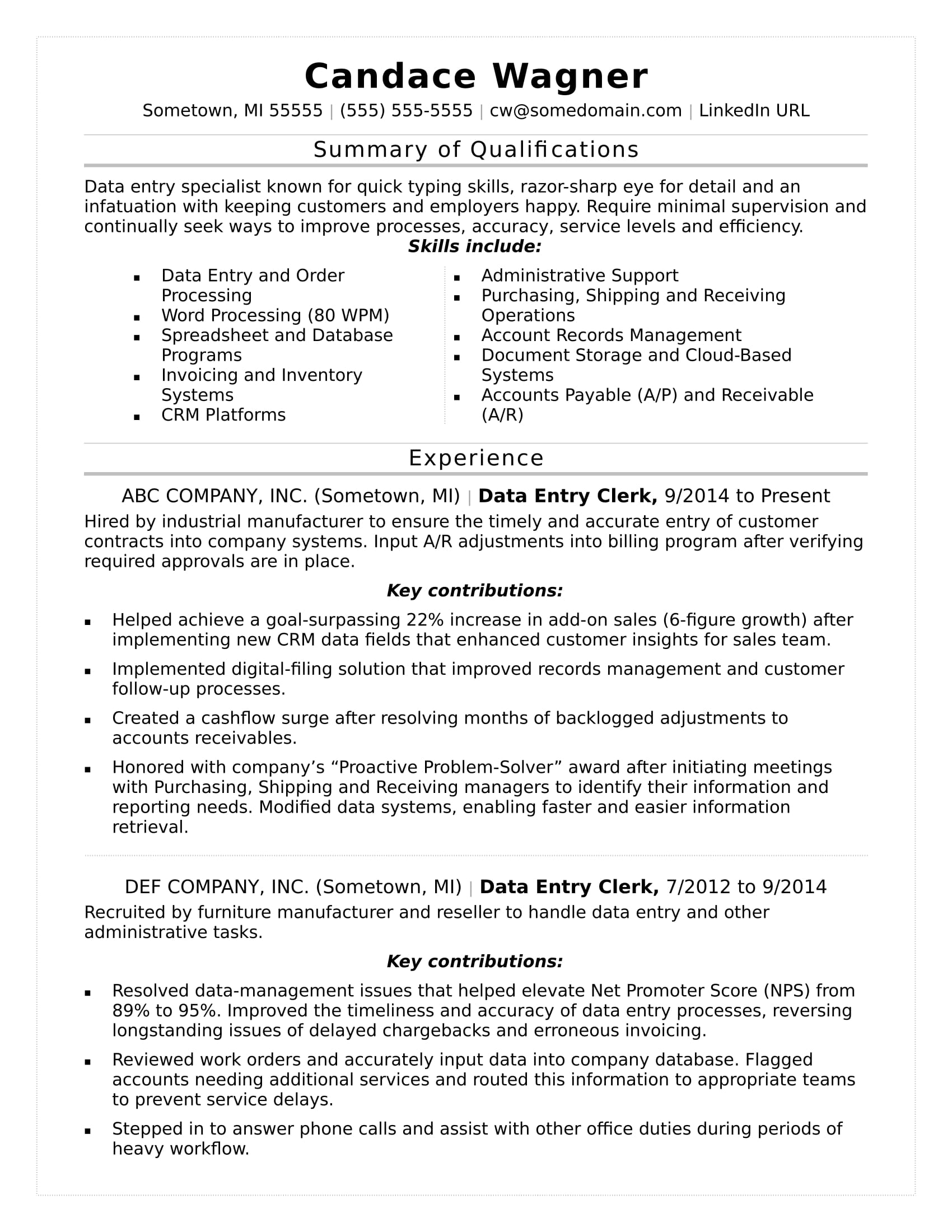 data entry resume sample monster template with summary of qualifications for board passer Resume Resume Template With Summary Of Qualifications