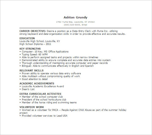 data entry resume template free word excel pdf format premium templates profile no Resume Data Entry Profile Resume