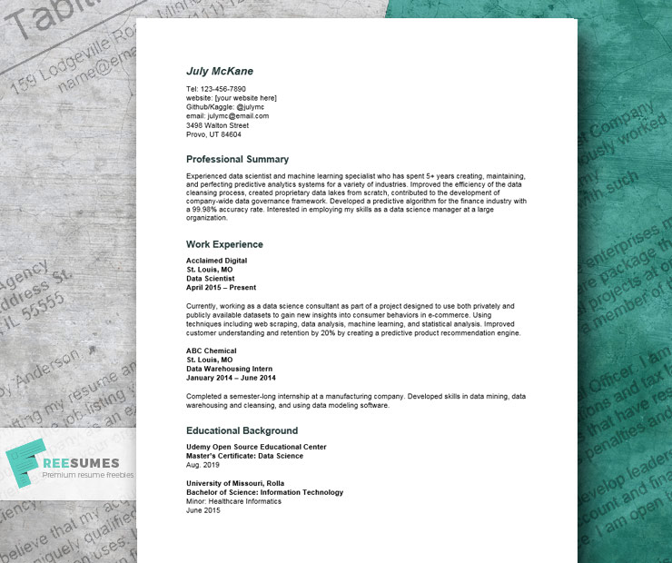 data science resume example land the sexiest job in 21st century freesumes sample for Resume Data Science Resume Sample