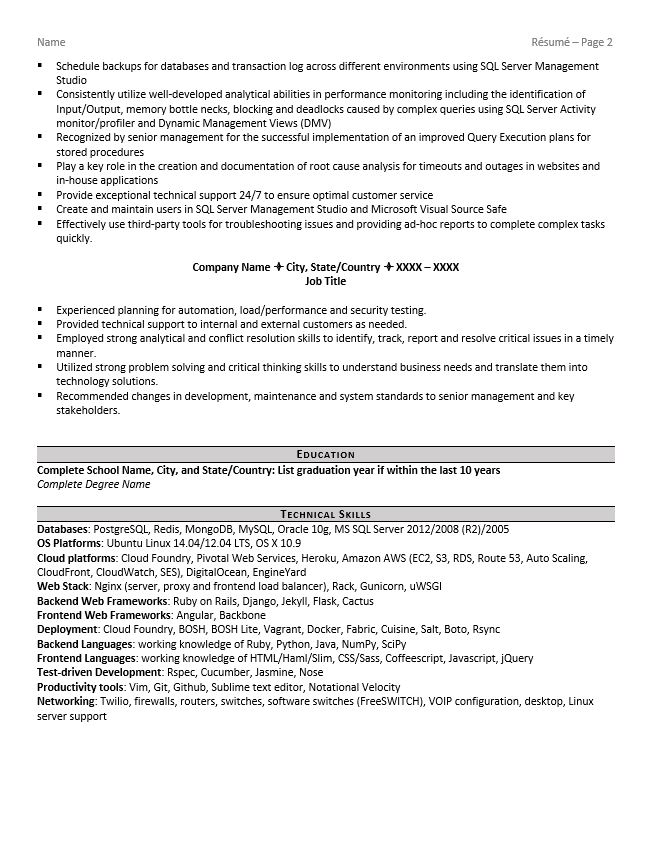 database administrator resume example tips oracle financial planning and analysis summary Resume Oracle Database Administrator Resume