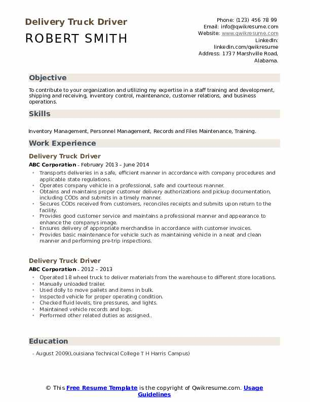 delivery truck driver resume samples qwikresume job pdf effective for freshers basic work Resume Truck Driver Job Resume