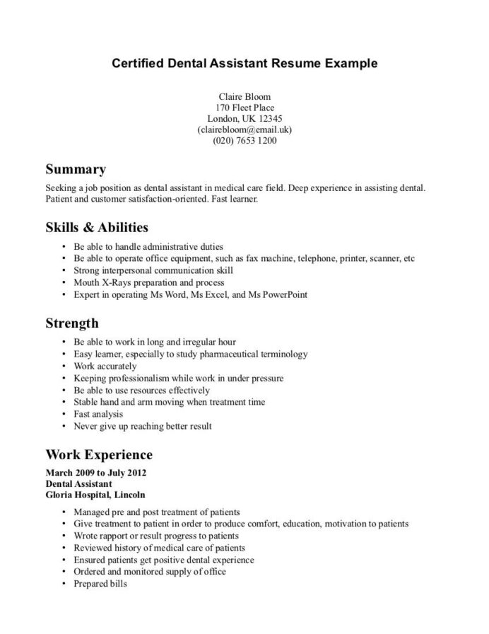 dental assistant resume example medical examples first job skills and abilities for when Resume Skills And Abilities For Dental Assistant Resume