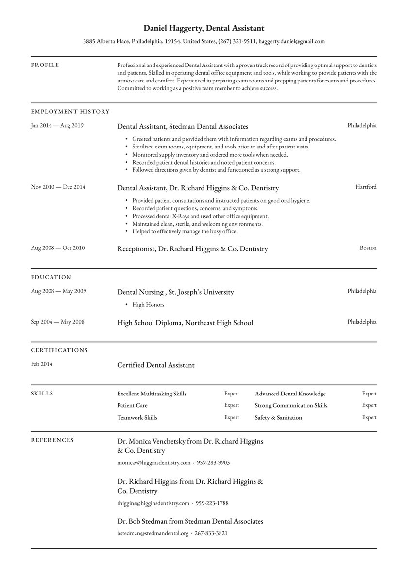 dental assistant resume examples writing tips free guide io school application shipper Resume Dental School Application Resume Examples