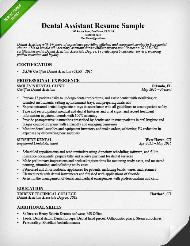 dental assistant resume sample medical hygienist hygiene examples perfect format for Resume Dental Assistant Resume Examples