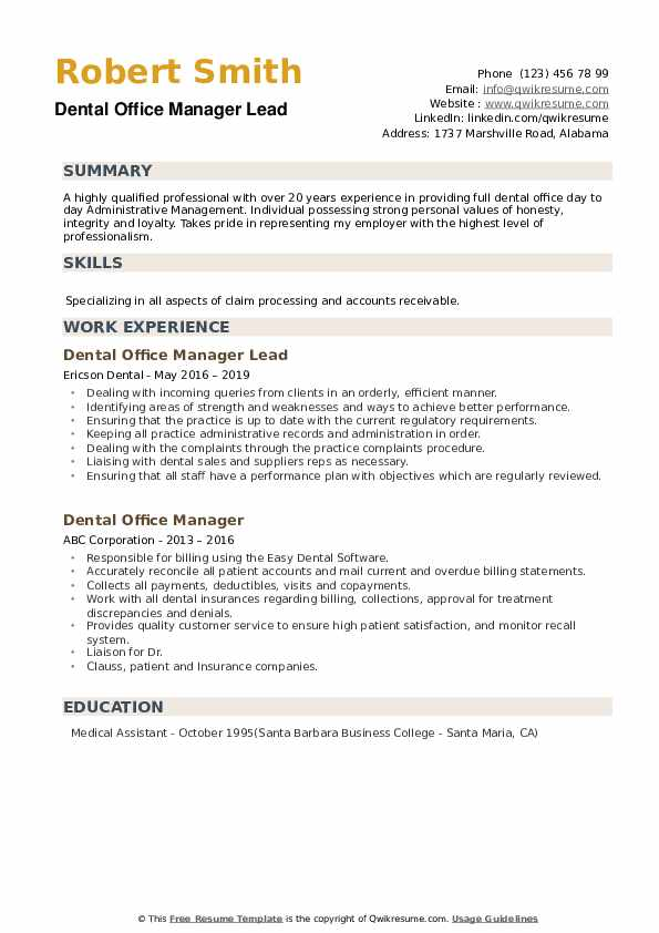 dental office manager resume samples qwikresume duties pdf official format capabilities Resume Dental Office Manager Duties Resume