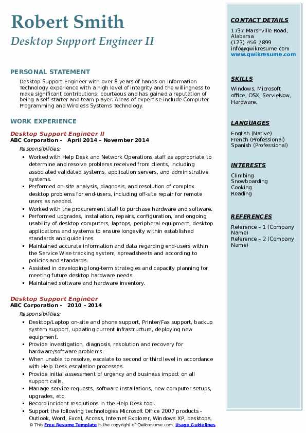 desktop support engineer resume samples qwikresume pdf ccar format job summary for Resume Desktop Support Engineer Resume
