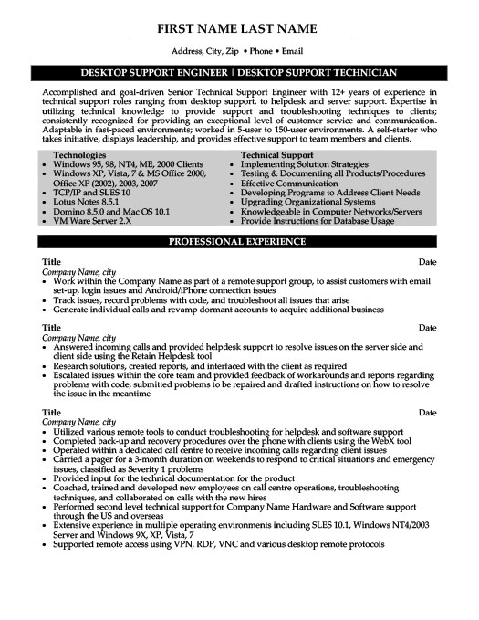desktop support engineer resume template premium samples example definition job summary Resume Desktop Support Engineer Resume