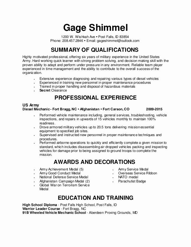 diesel mechanic resume examples awesome general skills good for teenager first job school Resume Diesel Mechanic Resume Examples