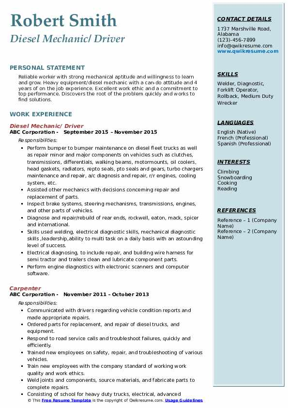 diesel mechanic resume samples qwikresume examples pdf for teenager first job army Resume Diesel Mechanic Resume Examples