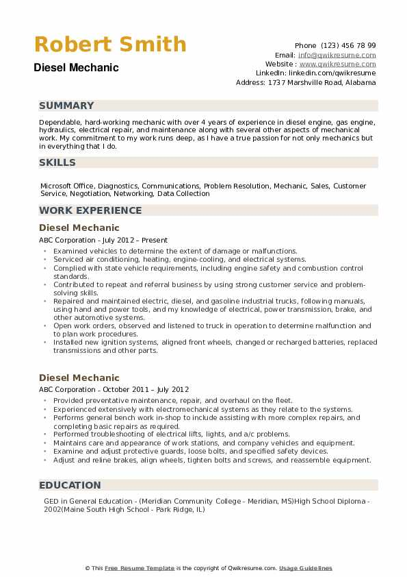 diesel mechanic resume samples qwikresume examples pdf format for college students blank Resume Diesel Mechanic Resume Examples