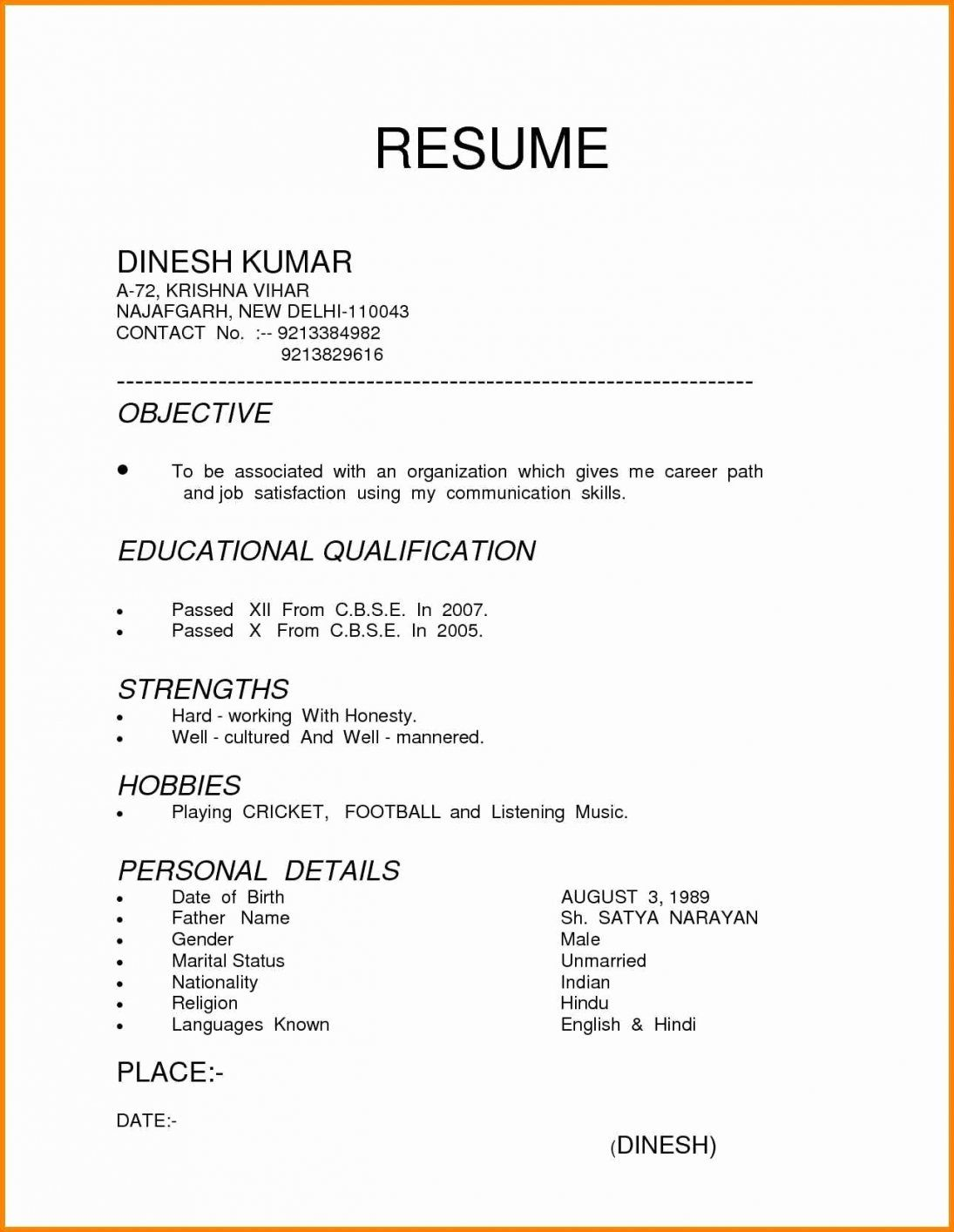different resume formats format examples for freshers type in templates maintenance Resume Type In Resume Templates