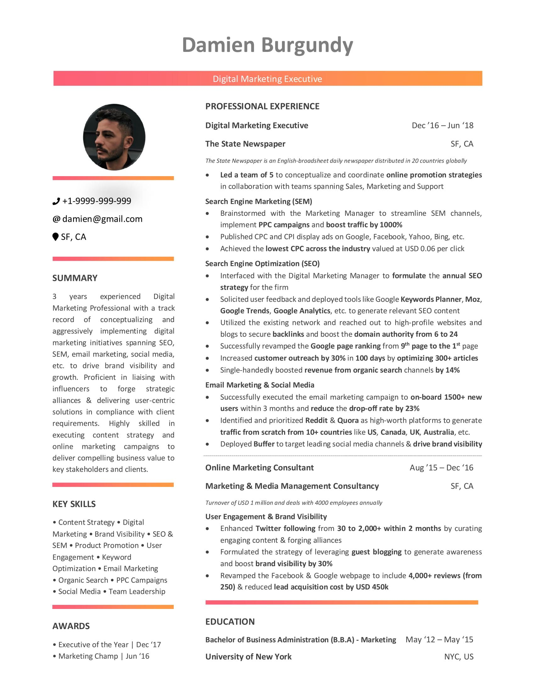 digital marketing resume guide with samples and examples template for awards honors Resume Resume Template For Digital Marketing
