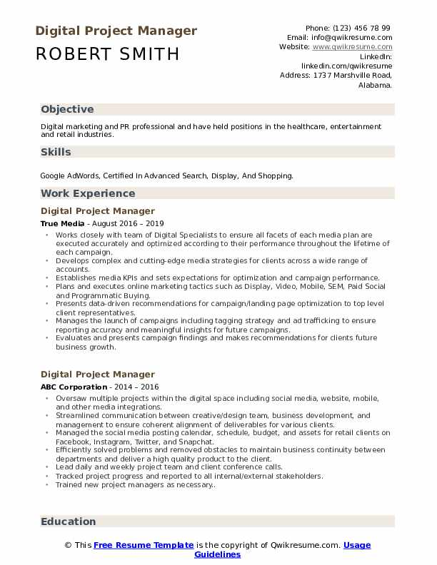 digital project manager resume samples qwikresume objective pdf thank you letter for Resume Project Manager Resume Objective