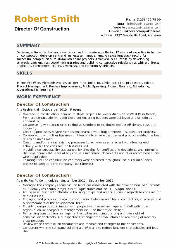 director of construction resume samples qwikresume president pdf functional template for Resume Construction President Resume