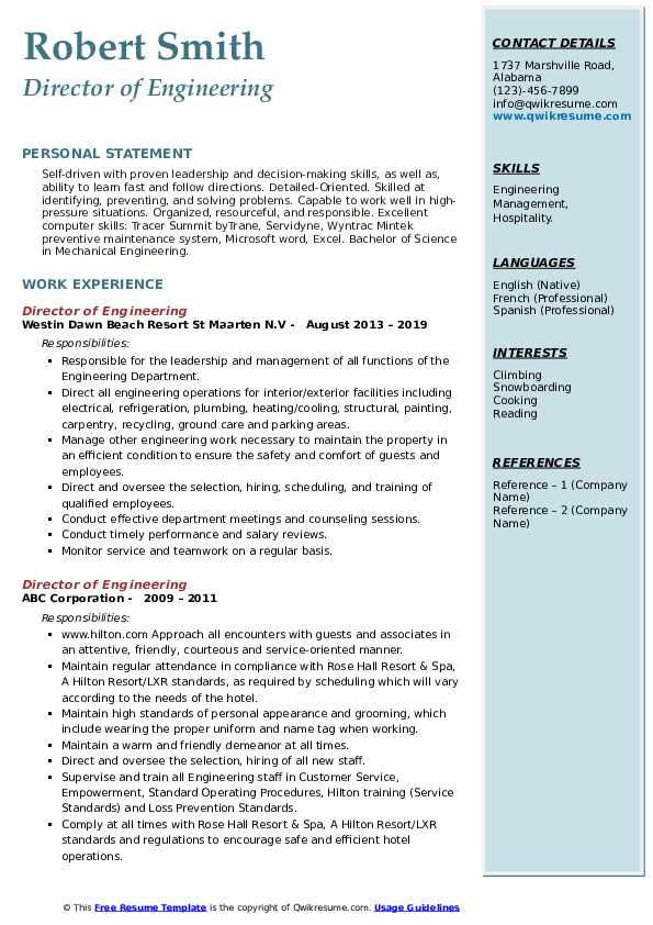 director of engineering resume samples qwikresume best templates for engineers pdf Resume Best Resume Templates For Engineers