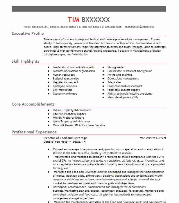 director of food and beverage resume example hotel hospitality north hills excellent Resume Food And Beverage Director Resume