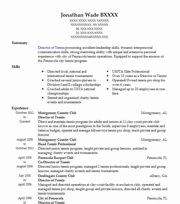 director of tennis resume example country club south carolina for college executive Resume Tennis Resume For College