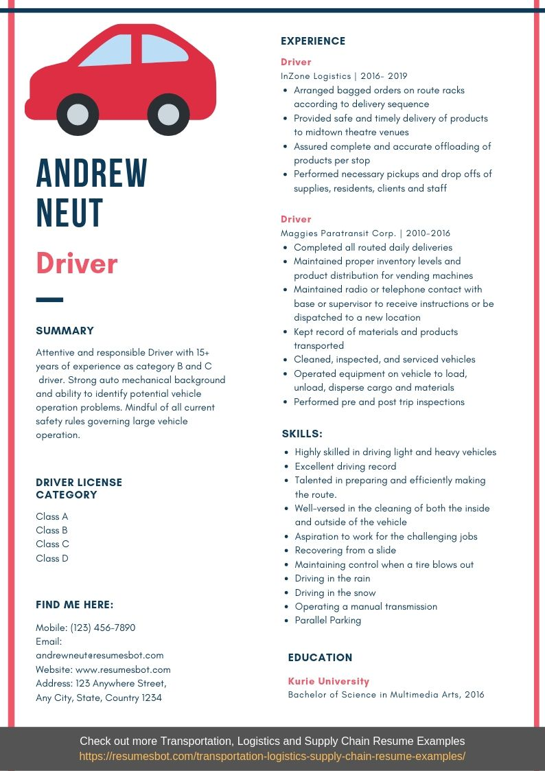 driver resume samples templates pdf resumes bot professional examples example healthcare Resume Professional Resume Examples Pdf