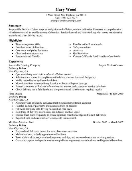 driver resume template for microsoft word livecareer another delivery food restaurant Resume Another Word For Delivery Driver For Resume