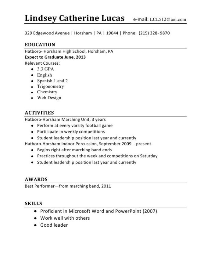 easy college student resume format for job application first time us resident outline Resume First Job Resume Outline