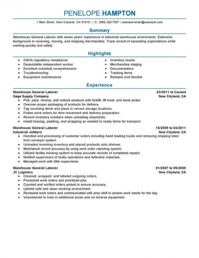 easy to read resume template builder example format best general labor livecareer fake Resume Easy To Read Resume Format