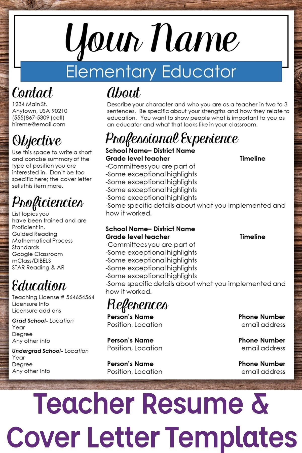 editable teacher resume template boxed student customize for each position office manager Resume Customize Resume For Each Position