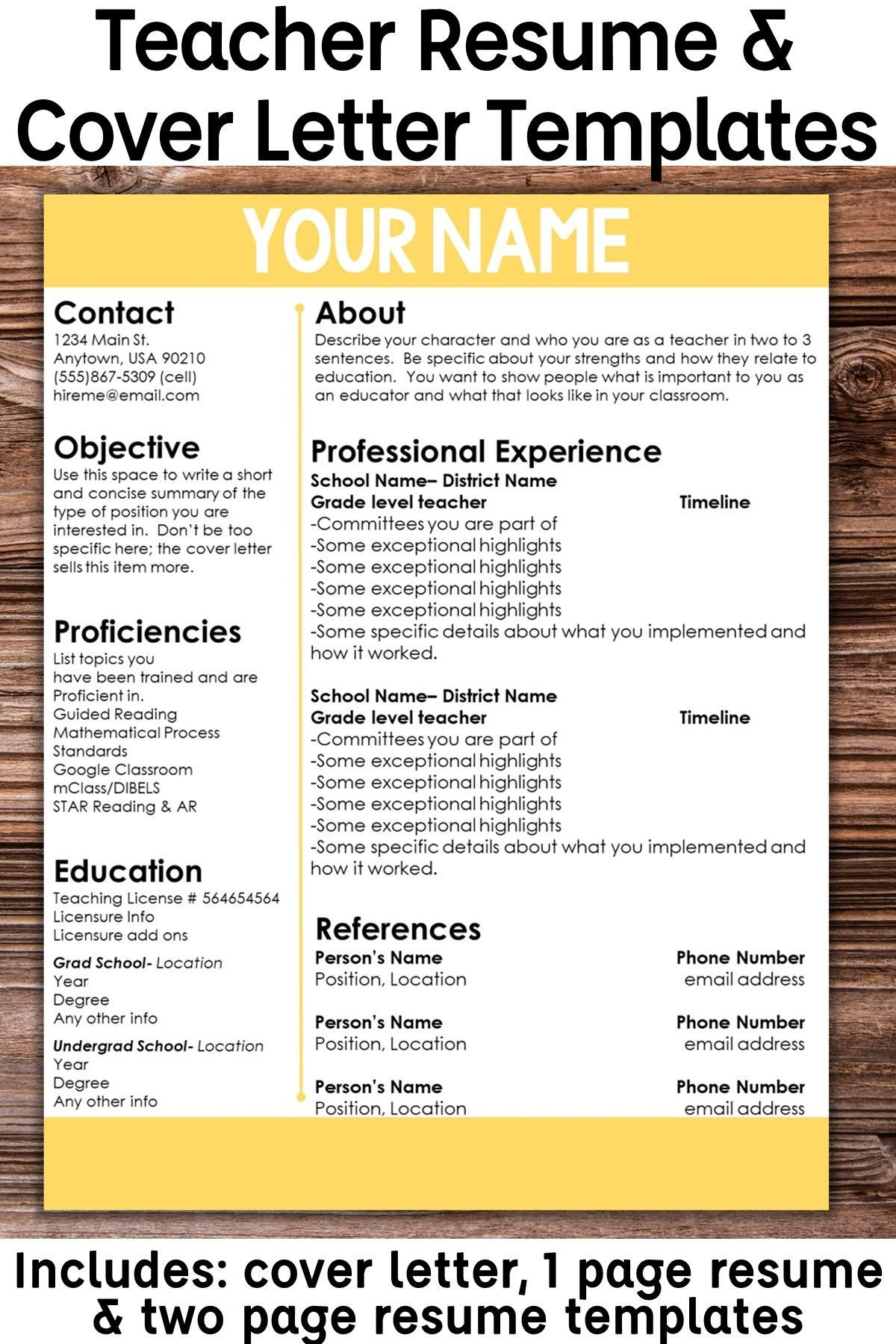 editable teacher resume template color accent cover letter customize for each position Resume Customize Resume For Each Position