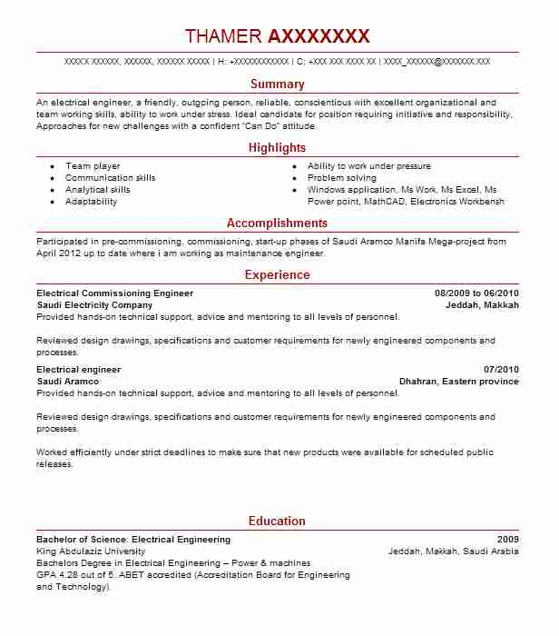 electrical commissioning engineer resume example black veatch city kan and san antona tx Resume Commissioning Engineer Resume