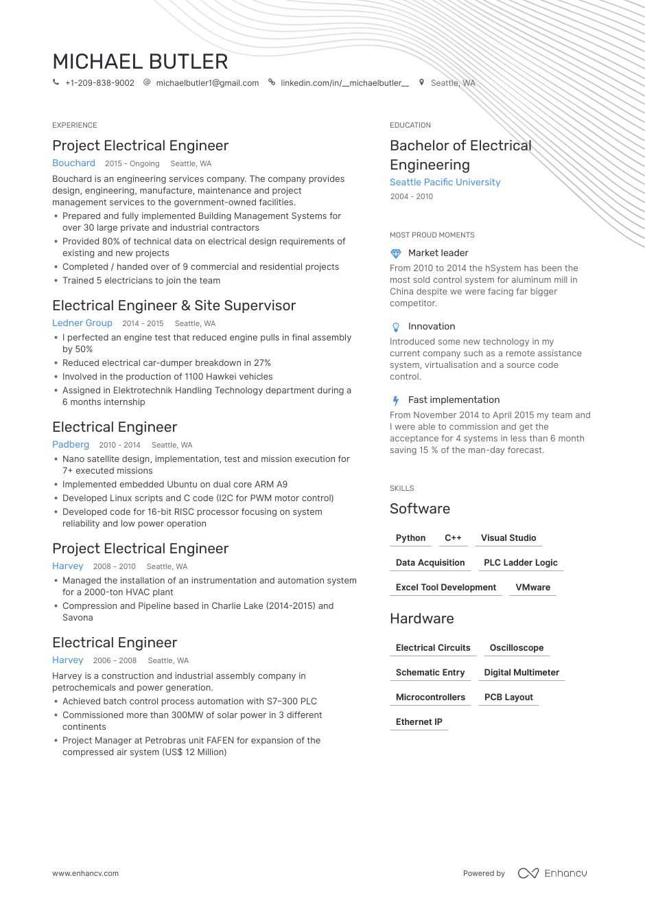 electrical engineer resume examples pro tips featured enhancv for fresher environmental Resume Resume For Fresher Environmental Engineer