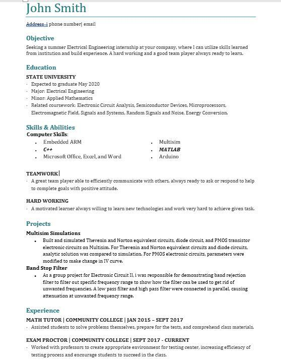 electrical engineering student resume for summer internship greater nyc area resumes Resume Engineering Student Resume Examples