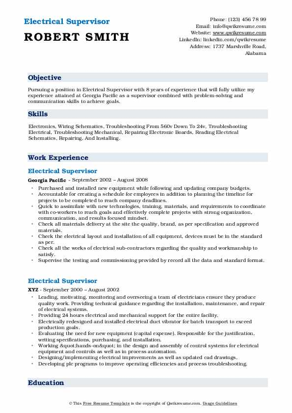electrical supervisor resume samples qwikresume best sample pdf good construction and Resume Best Electrical Supervisor Resume Sample