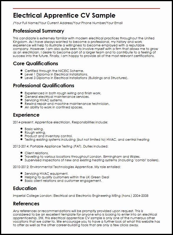 electrician apprentice resume no experience printable template examples professional Resume Apprentice Electrician Resume Examples