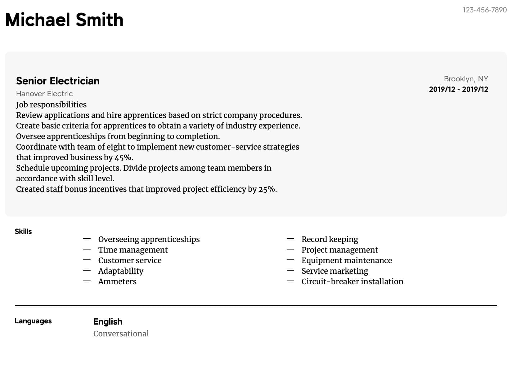 electrician resume samples all experience levels apprentice examples intermediate smart Resume Apprentice Electrician Resume Examples