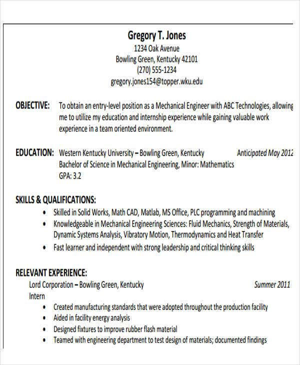 engineering resume samples pdf free premium templates entry level production mechanical Resume Entry Level Production Resume