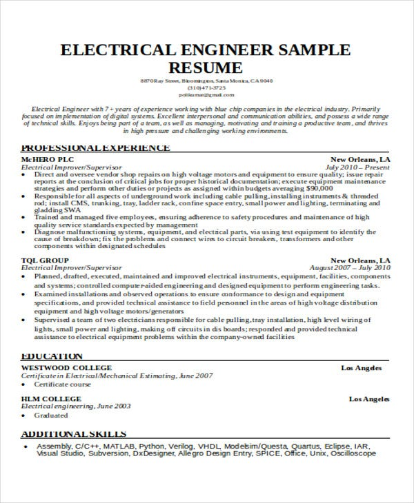 engineering resume samples pdf free premium templates student examples electrical elegant Resume Engineering Student Resume Examples