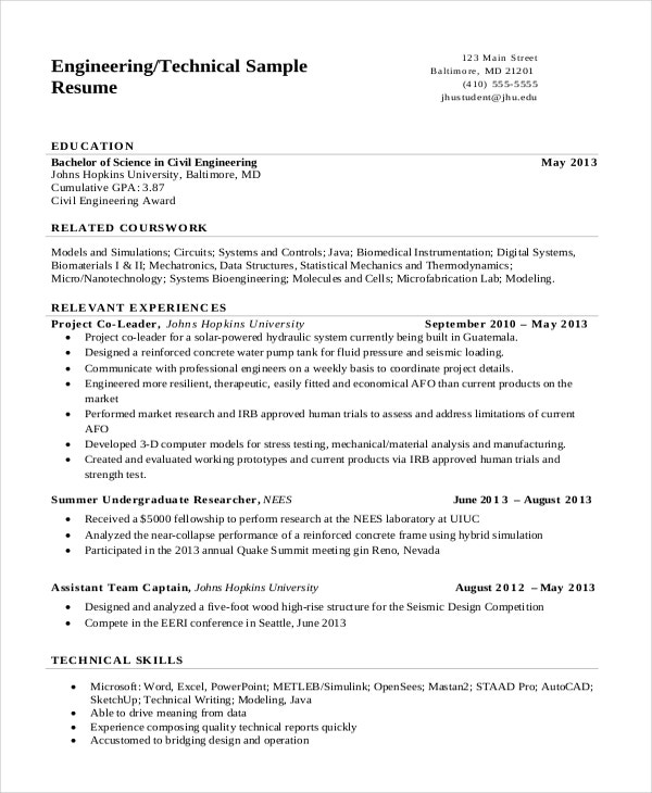 engineering resume templates pdf free premium student examples technical college summary Resume Engineering Student Resume Examples