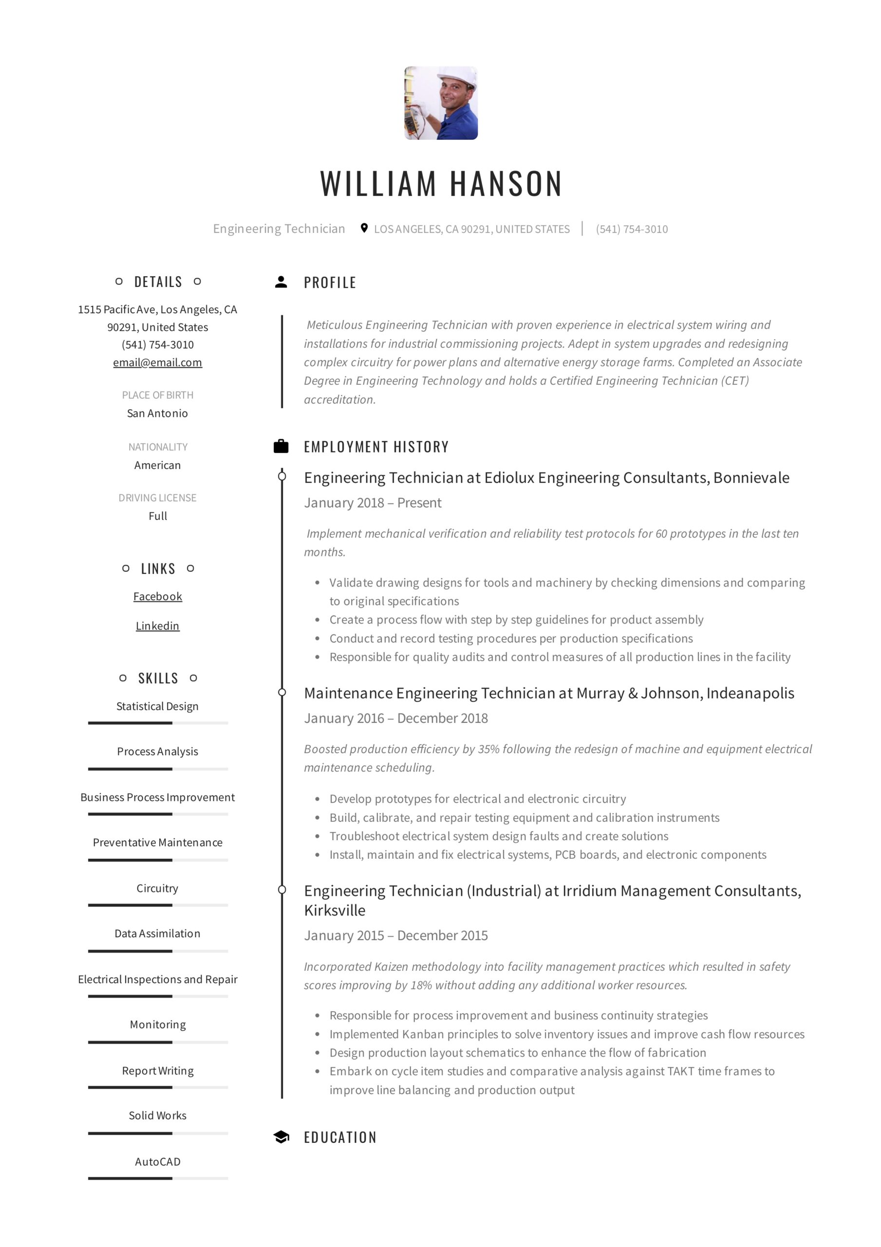 engineering technician resume writing guide templates machine maintenance example of an Resume Machine Maintenance Technician Resume
