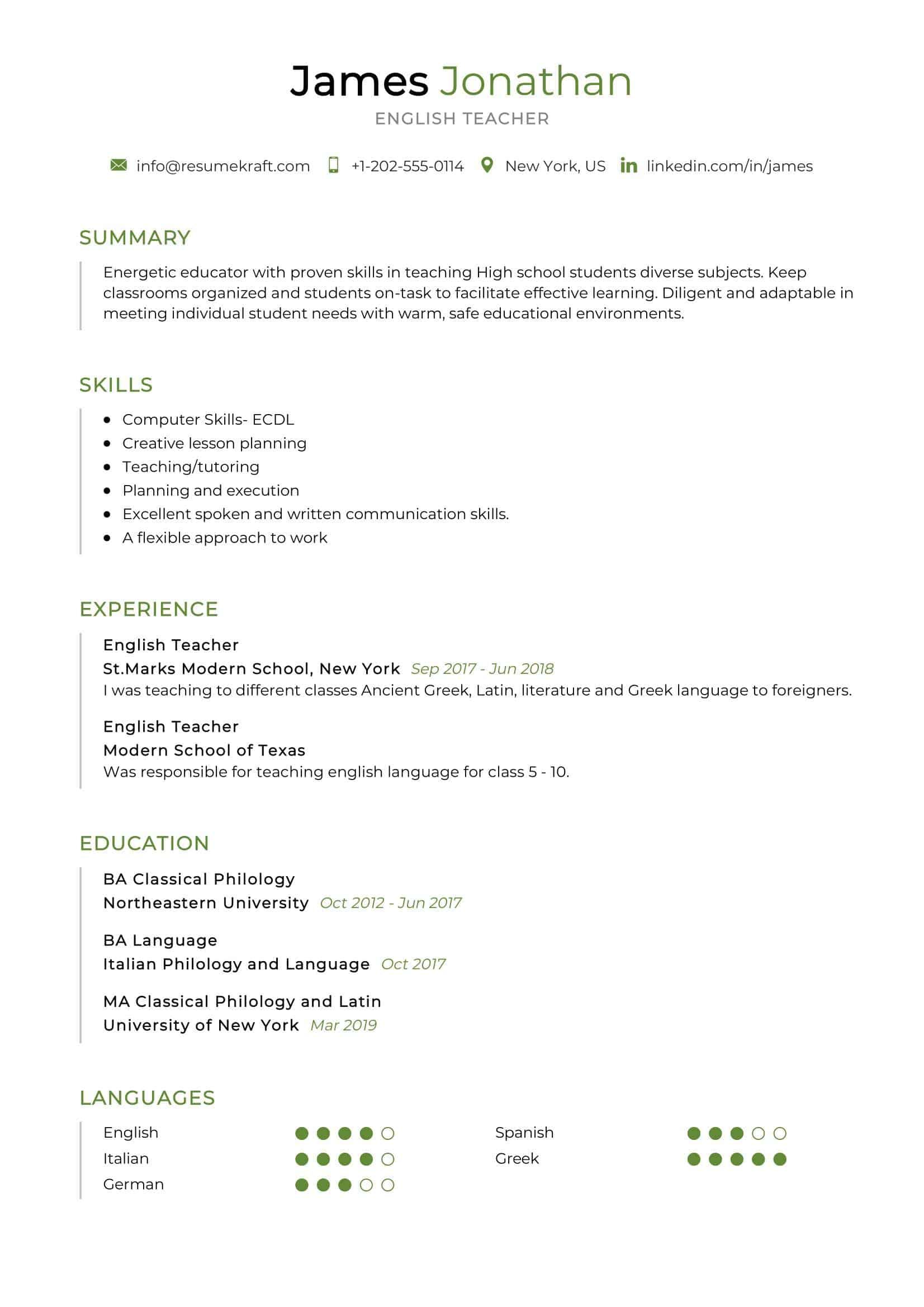 english teacher resume sample resumekraft of for high school oracle database architect Resume Sample Resume Of English Teacher For High School
