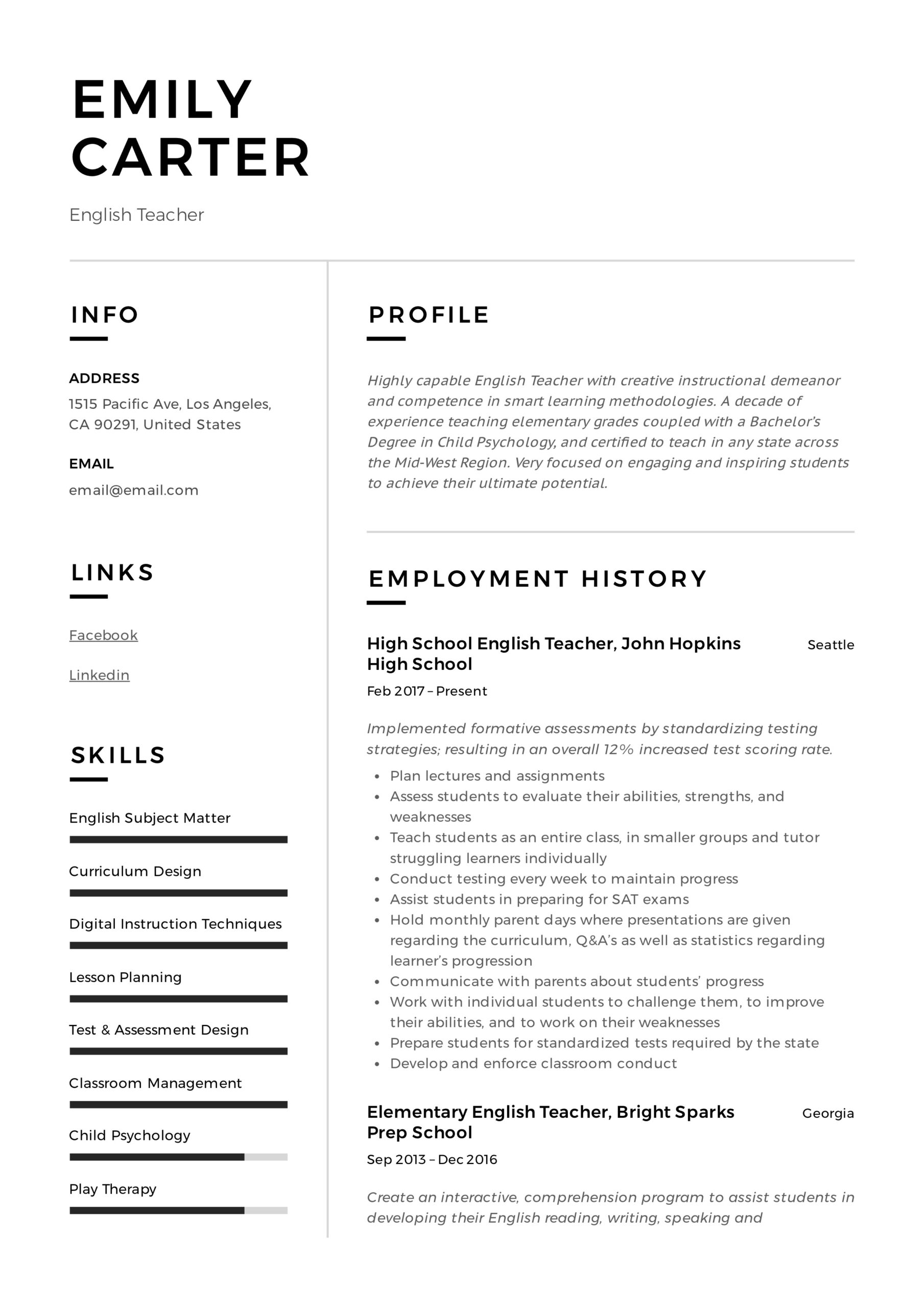 english teacher resume writing guide free templates sample of for high school emily Resume Sample Resume Of English Teacher For High School
