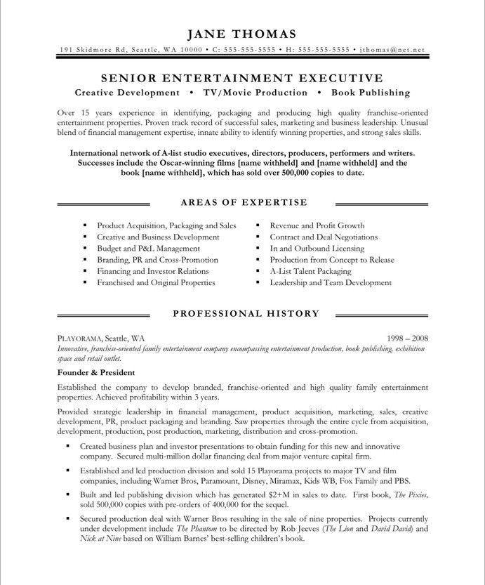 entertainment executive page1 resume free samples examples skills car statements jeb bush Resume Entertainment Skills Resume