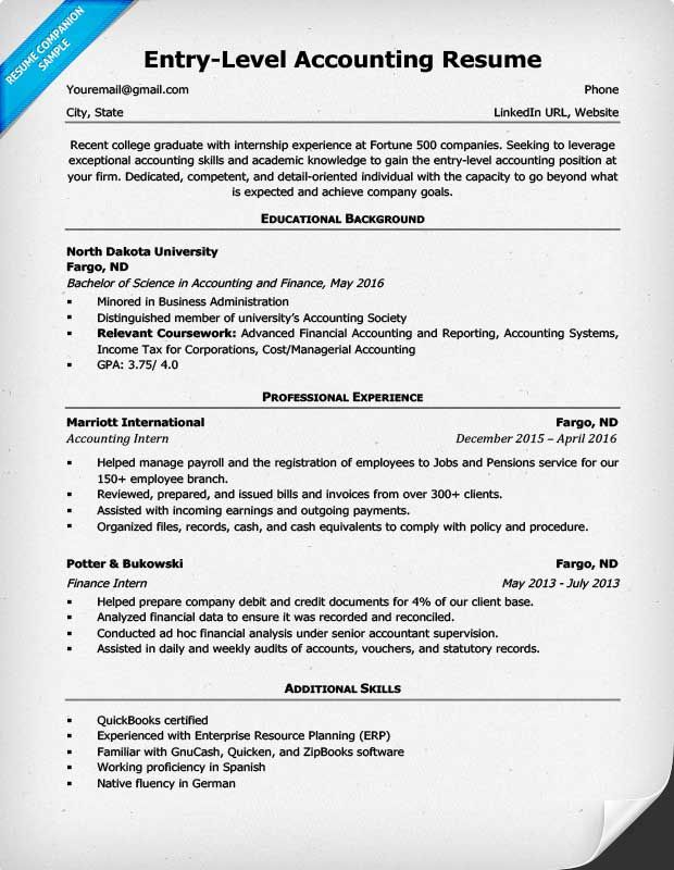 entry level accounting resume example accountant examples skills sample listing salary Resume Accountant Resume Sample