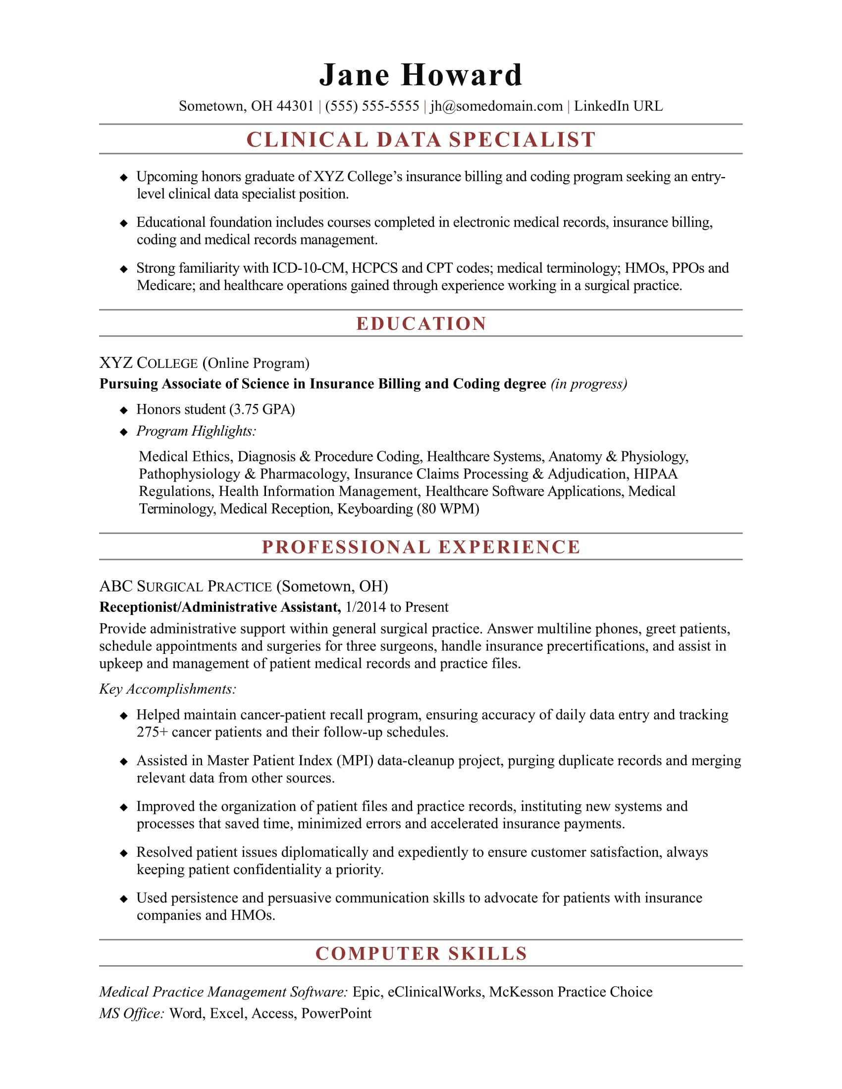 entry level clinical data specialist resume sample monster medical billing and coding Resume Entry Level Medical Billing And Coding Resume Sample