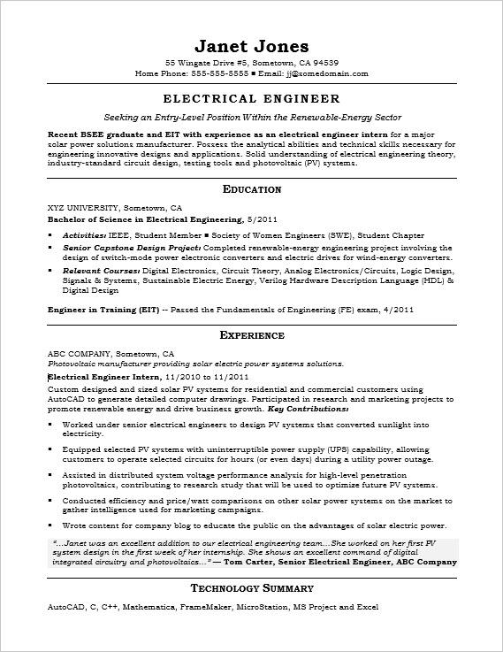 entry level electrical engineer sample resume monster for energy engineering examples Resume Sample Resume For Energy Engineer
