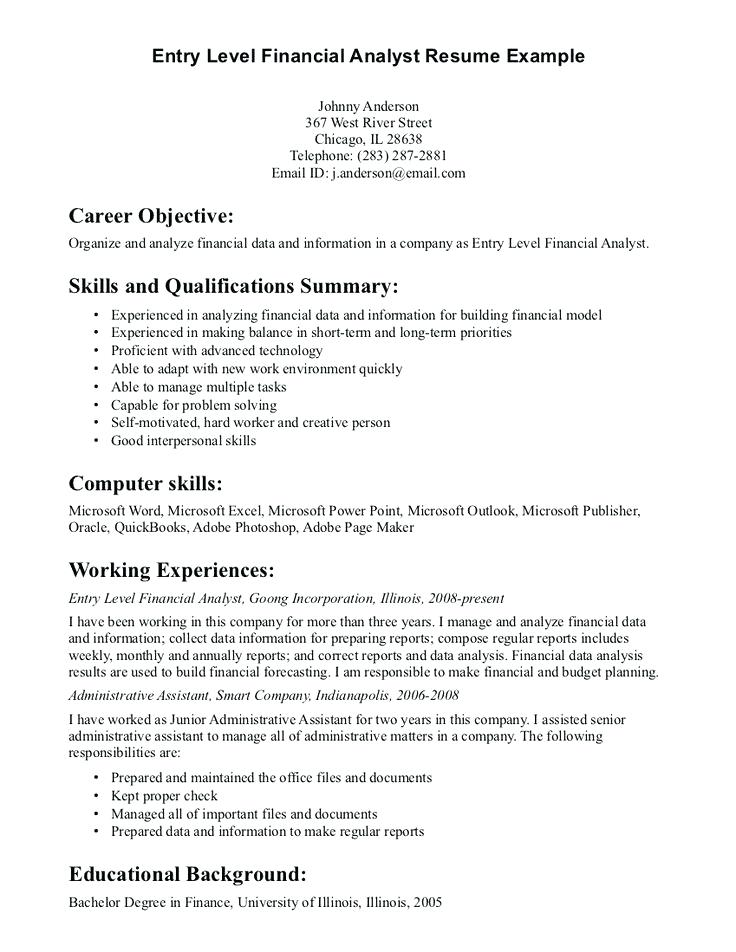 entry level financial analyst resume finance sample email letter for submitting free Resume Entry Level Finance Resume