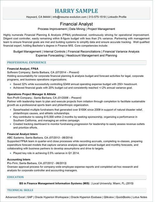 entry level financial analyst resume sample résumé evolution finance elementary teacher Resume Entry Level Finance Resume