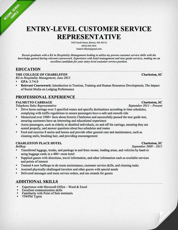 entry level hotel customer service resume genius objective examples cover letter for Resume Entry Level Customer Service Resume