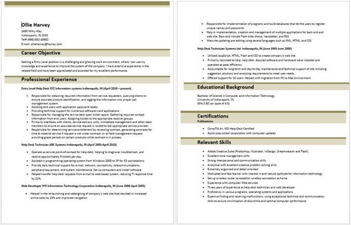 entry level it information technology resume sample template templates examples Resume Information Technology Resume Template