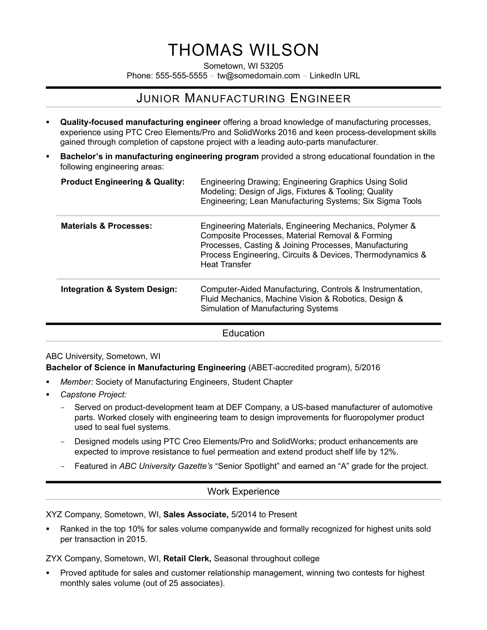 entry level mechanical engineering jobs springs sample resume for manufacturing engineer Resume Sample Resume For Entry Level Jobs
